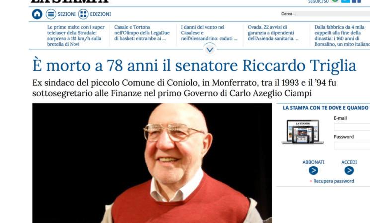 """Necrologio per l'on. Riccardo Triglia su """"La Stampa"""""""
